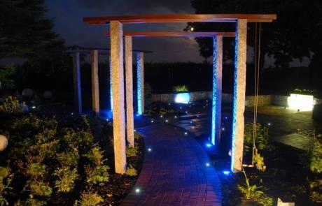Beleuchtung Pergola aus Granit