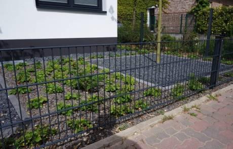 Stabmattenzaun als Eingrenzung des Vorgarten