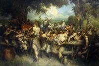 Gemälde von Ferdinand Leeke: Wikinger bei einem Gelage im Freien, Männer, teils mit Fell bekleidet an einem Holztisch unter Bäumen beim Trinken und sich zuprosten, im Hintergrund spielt ein Barde auf einer Leier