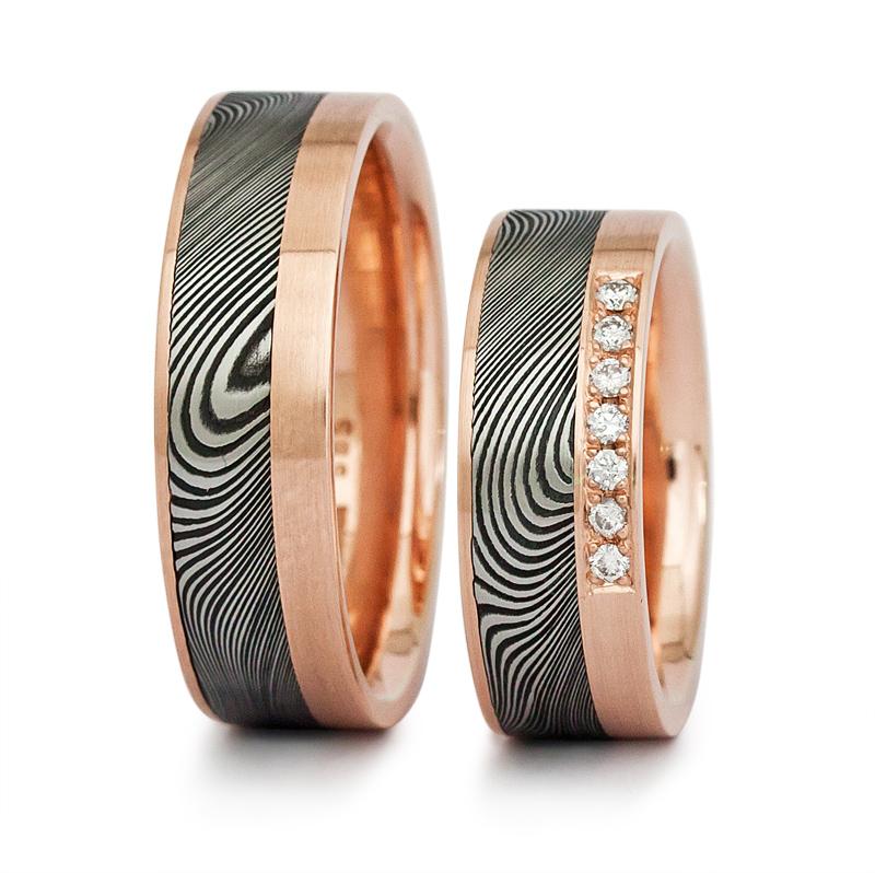 Ring dam3596 Rotgold 585 mattiert 7 Brillanten 0,1 ct tw/si