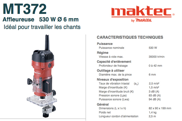 Affleureuse Maktec MT372 Makita