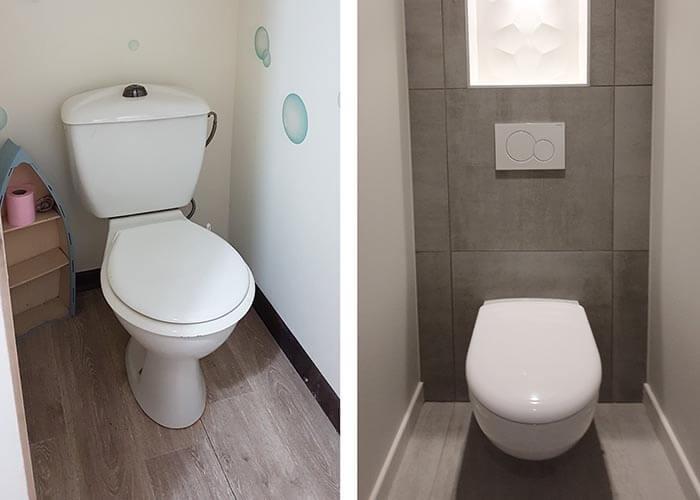 poser par des toilettes suspendues