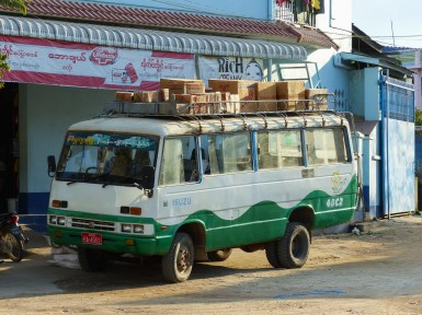 Old public transport bus in Kengtung, Myanmar