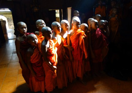 Novices in a hill tribe Buddhist temple between Kengtung and the Chinese border