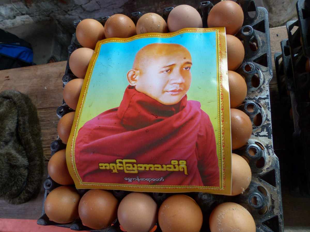 Advertisement for a visiting monk scholar on a palette of eggs