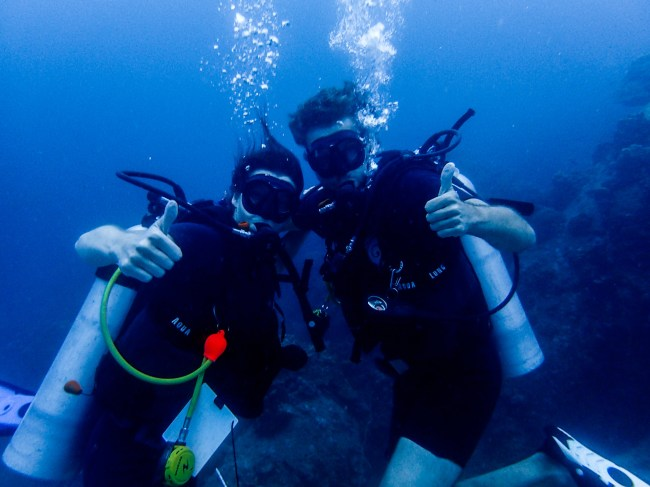 Maria and Christian Diving in Koh Tao