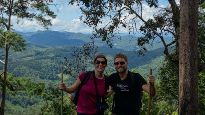 Maria and Christian hiking in Pai's mountains