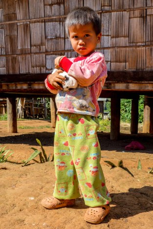Baby boy with baby dog in hilltribe village close to Pai