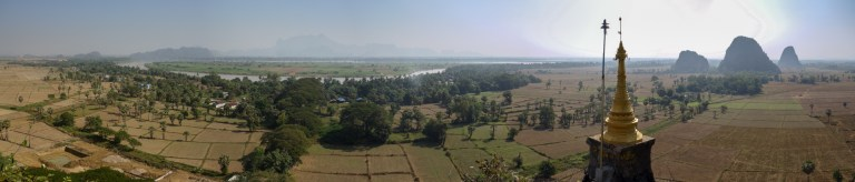 Panorama over Hpa-An's countryside