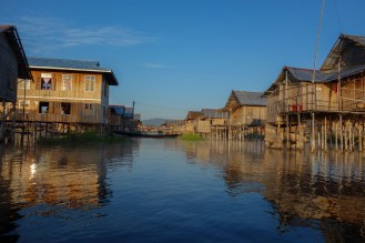 Stilt house village on Inle Lake