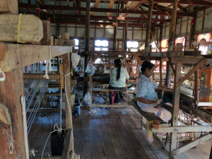 Lotus thread weaving is a craft practiced on Inle Lake