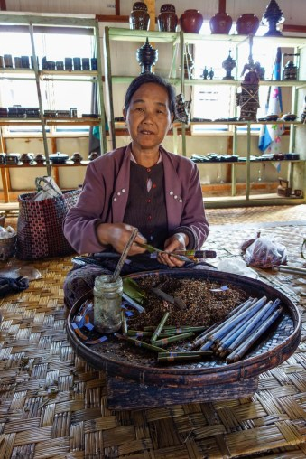 In the Inle region, locally produced spice cigars are extremely popular amongst men and women alike