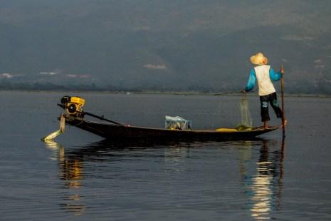 Leg-rowing Intha fisherman on Inle Lake