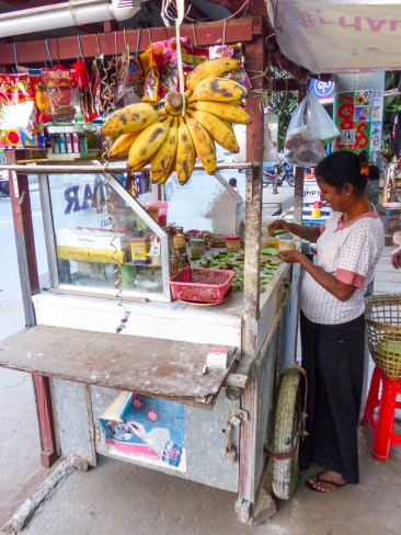 Betel nut Paan stand in Mandalay with a very kind sales woman
