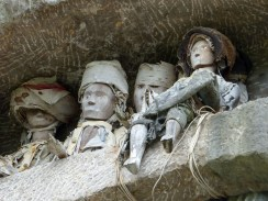 Tana Toraja - wooden figures of the deceased throning over stone graves Christian Jansen & Maria Düerkop