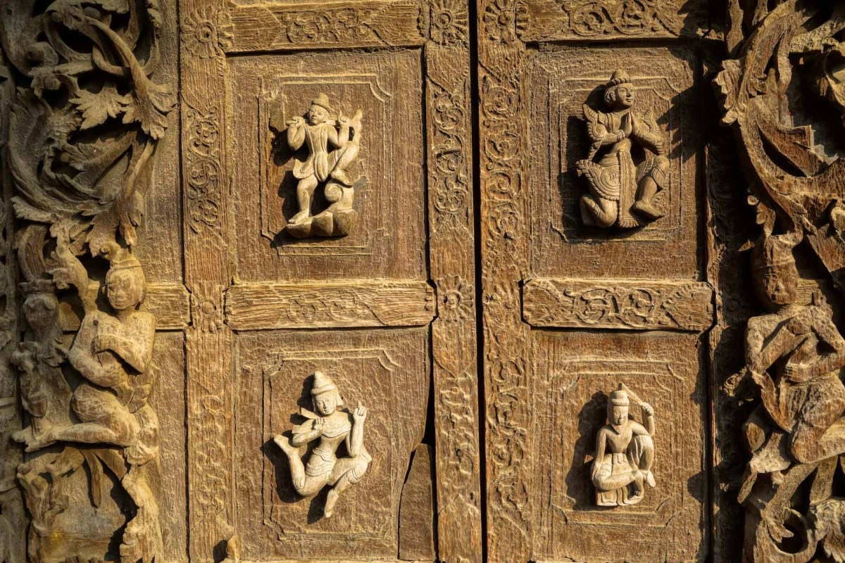 Mandalay - Teak monastery door detail Christian Jansen & Maria Düerkop