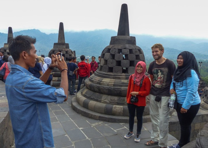 Yogyakarta - Borobodur temples: We thought, we would be out for a day of sight seeing but quickly became attractions ourselves. Christian Jansen & Maria Düerkop