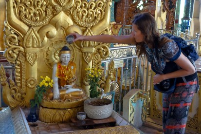 Yangon - Maria services her birthday shrine Christian Jansen & Maria Düerkop