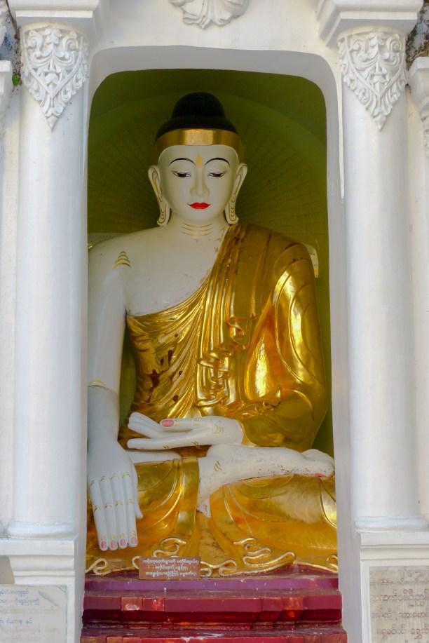 Yangon - White sitting Buddha at Shwedagon pagoda Christian Jansen & Maria Düerkop