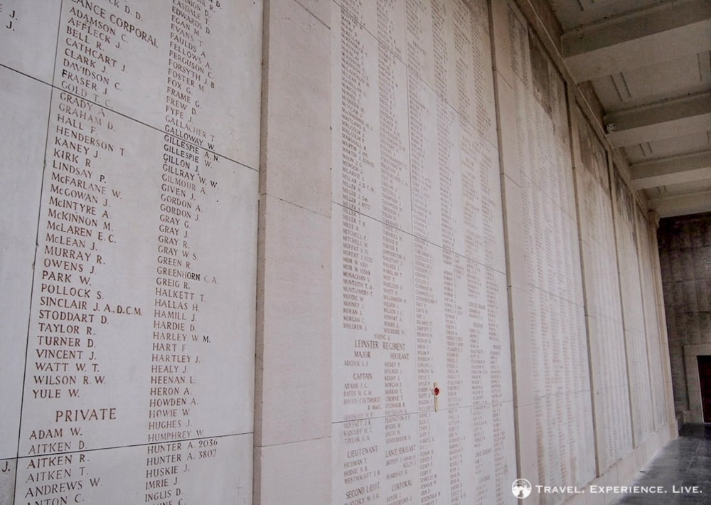 Names on the Menin Gate, Ypres