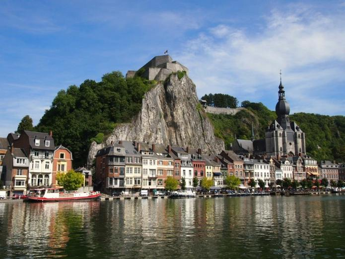 Famous picture of Dinant: The Collegiate Church, Houses on the Meuse River and the Citadel
