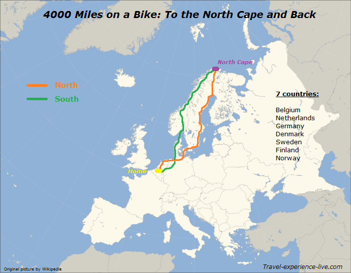 Cycle route to the North Cape and back