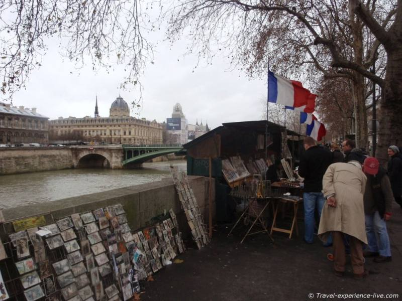 Books, postcards and souvenirs in Paris, France.