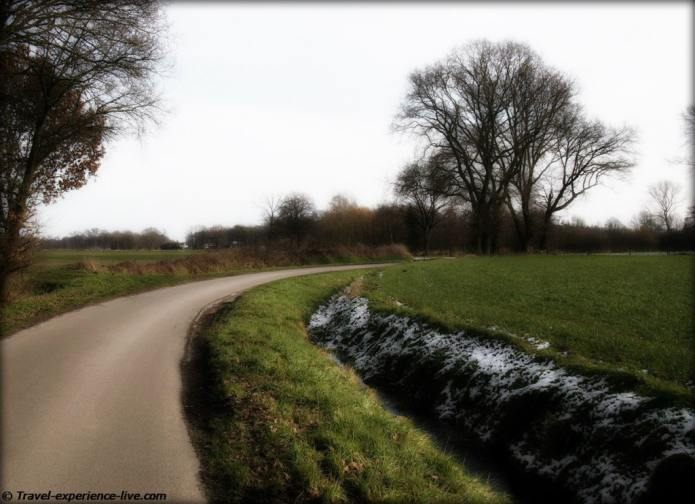 Country road in the Camping region, Belgium.