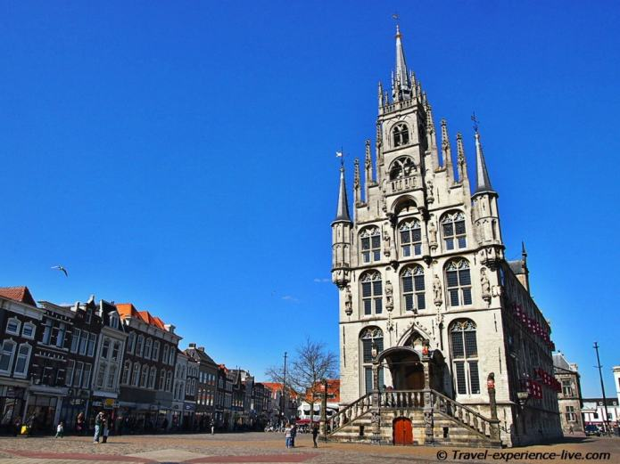 Town square in Gouda, Netherlands.