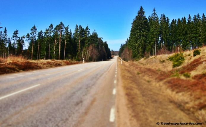 Road in southern Sweden.