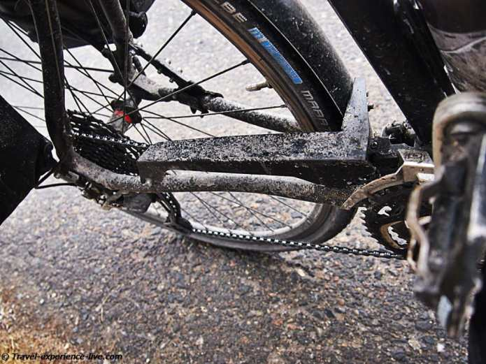 Muddy bicycle.