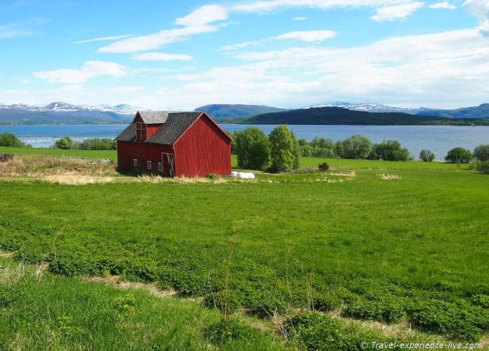 Red house in Norway.
