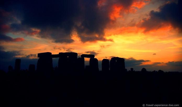Stonehenge sunset, England.