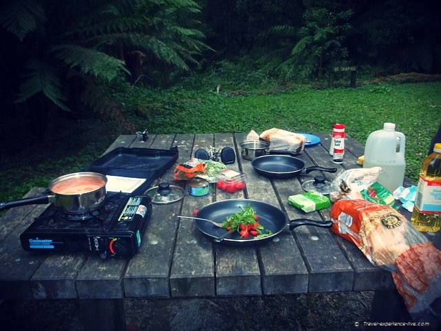 Cooking in Cape Otway National Park, Australia