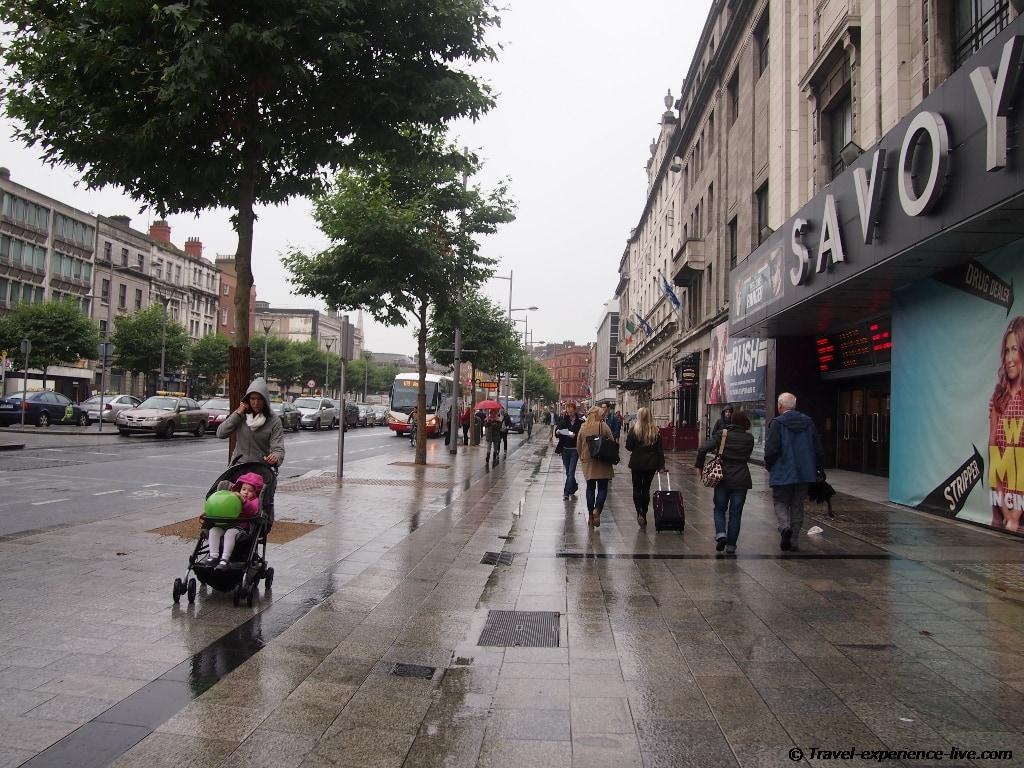 Rainy day on O'Connell St, Dublin, Ireland.