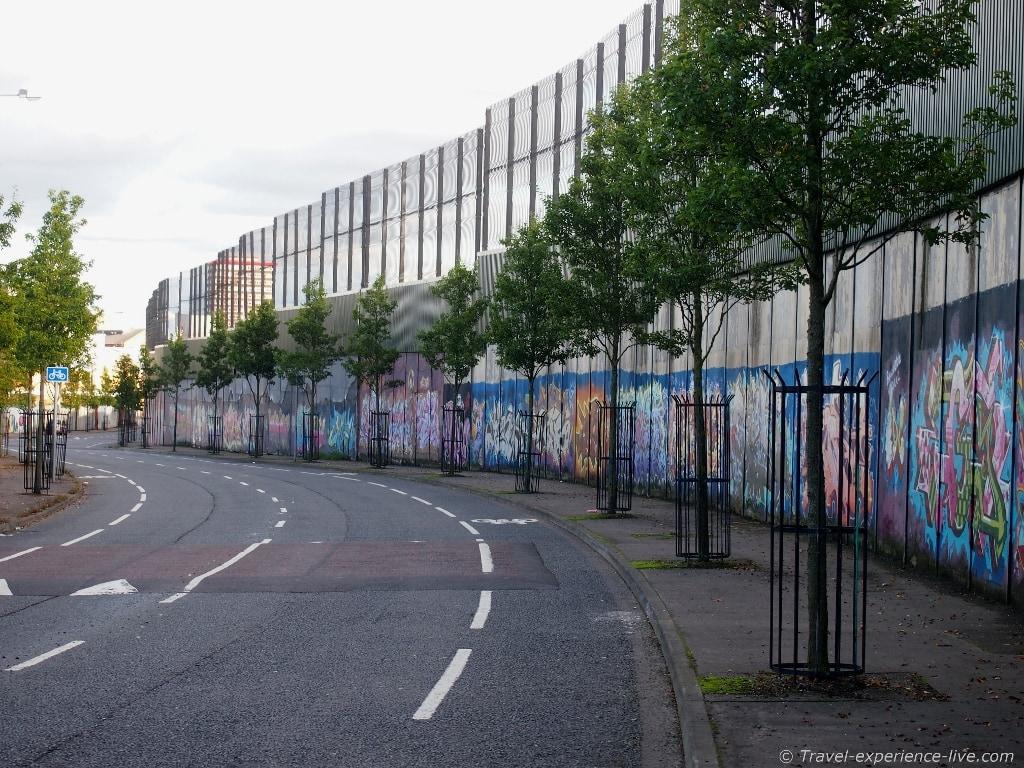 Peace Wall in West Belfast.