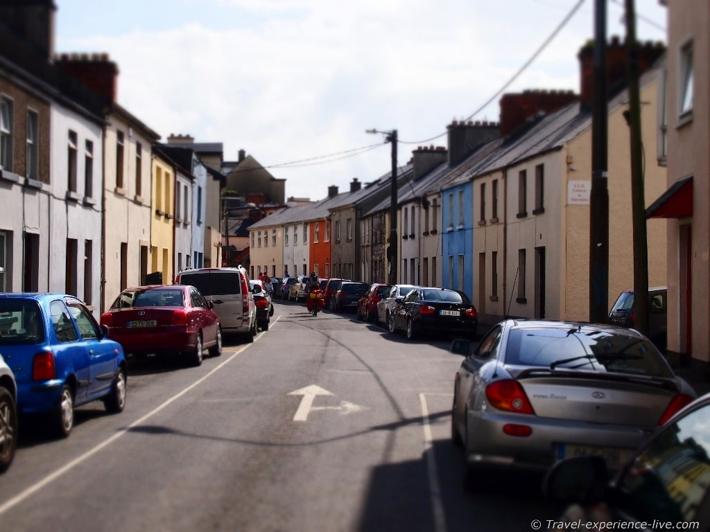 Irish streets: colorful houses in Galway.