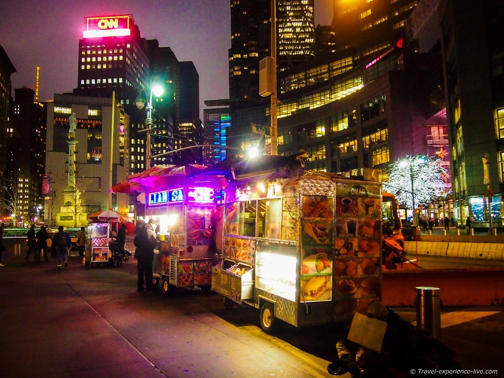 Hot dog stand in New York.