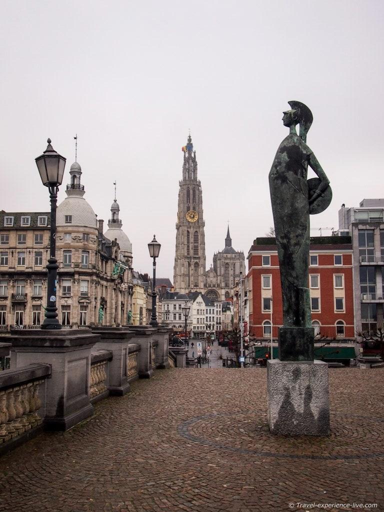 View of historic Antwerp from the river Scheldt, Belgium.