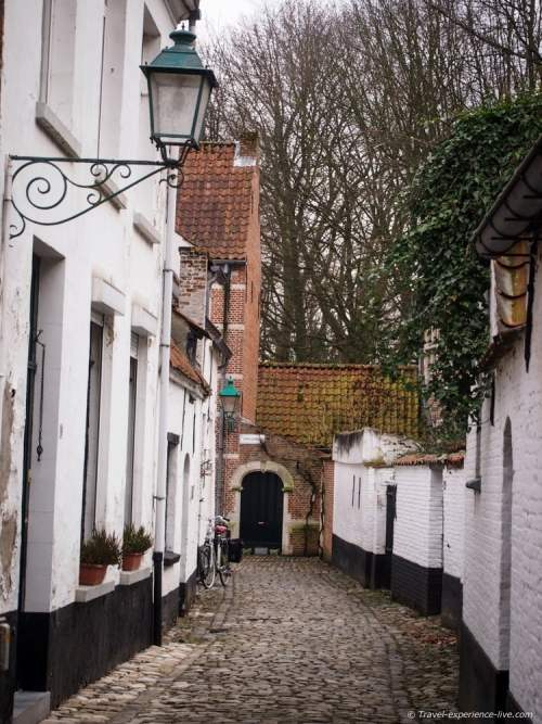 Cobble stone street in Lier beguinage, Belgium