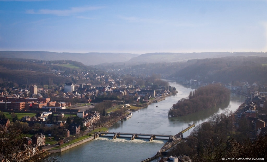 View of the Meuse River and hills of the Ardennes, Belgium