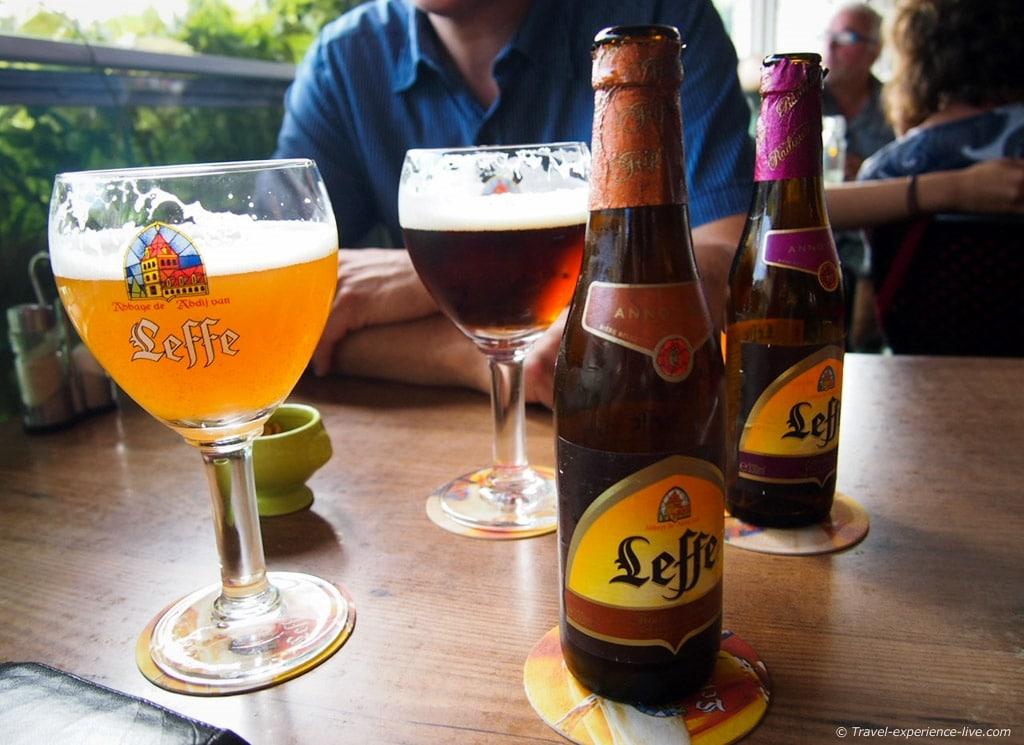 Drinking Leffe in Dinant, Belgium