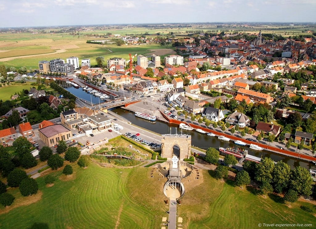 View of Diksmuide from the Yser Tower, Belgium