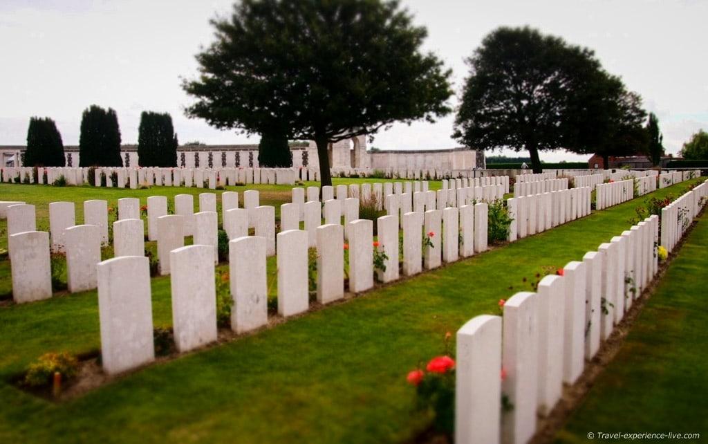 Gravestones at Tyne Cot War Cemetery