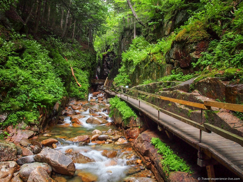 Boardwalk in the Flume Gorge, New Hampshire's White Mountains.