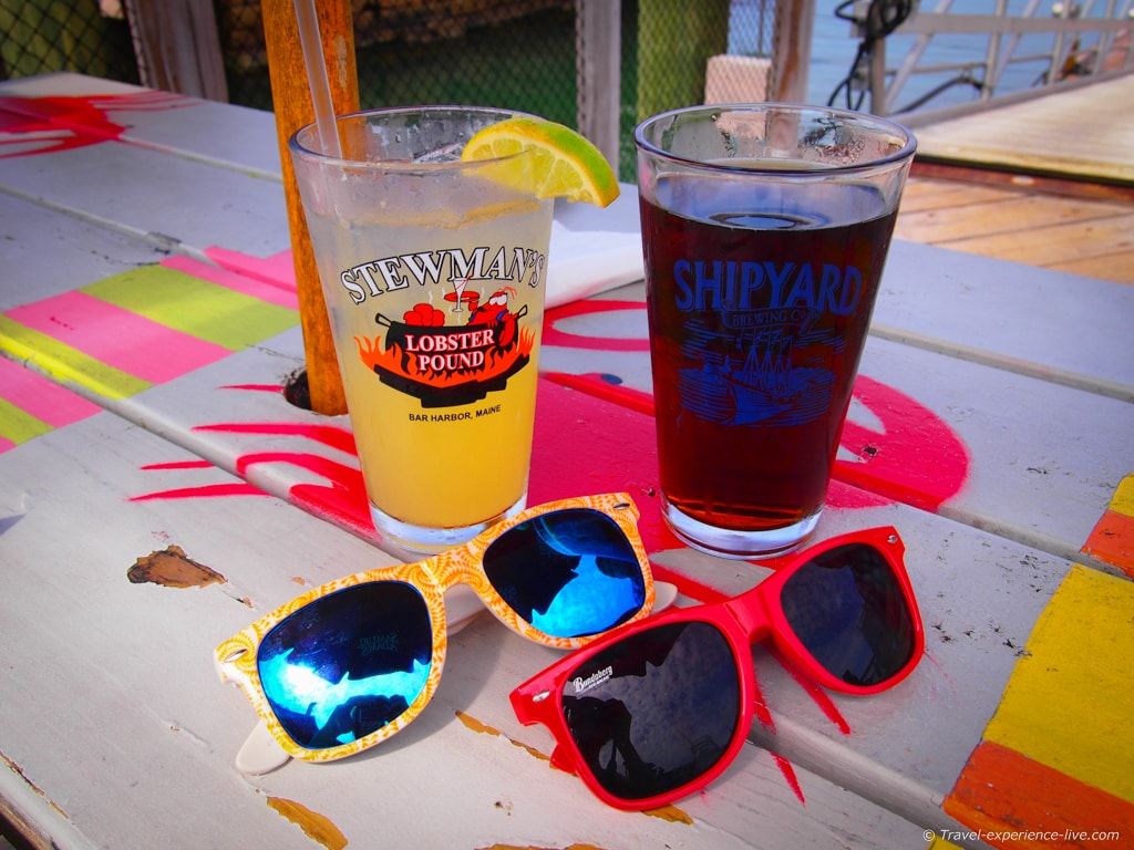 Drinks and sunglasses in Bar Harbor