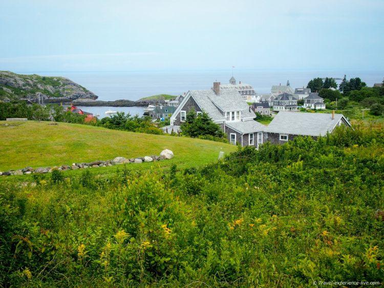View of Monhegan Village, Maine.