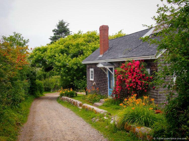 Unpaved road on Monhegan Island, Maine.