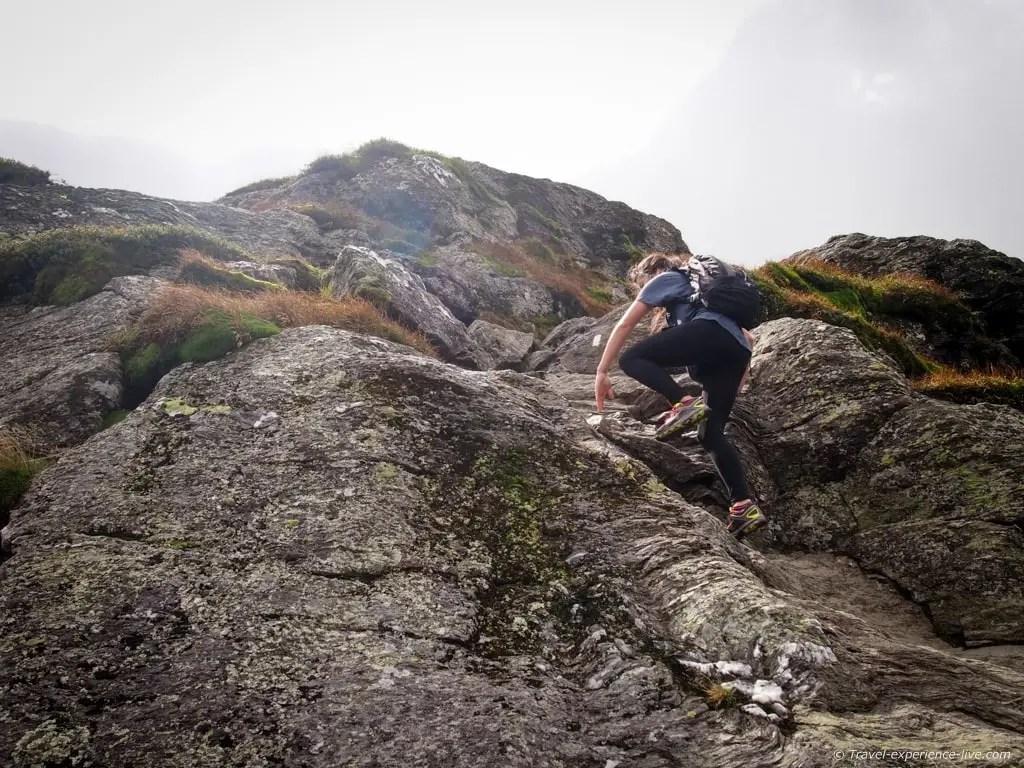 Climbing Mount Mansfield, Vermont.