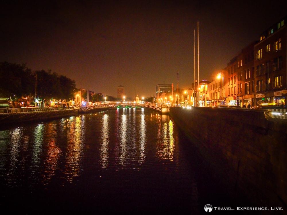 Ha'Penny Bridge after dark